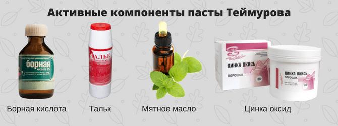 Состав пасты Теймурова
