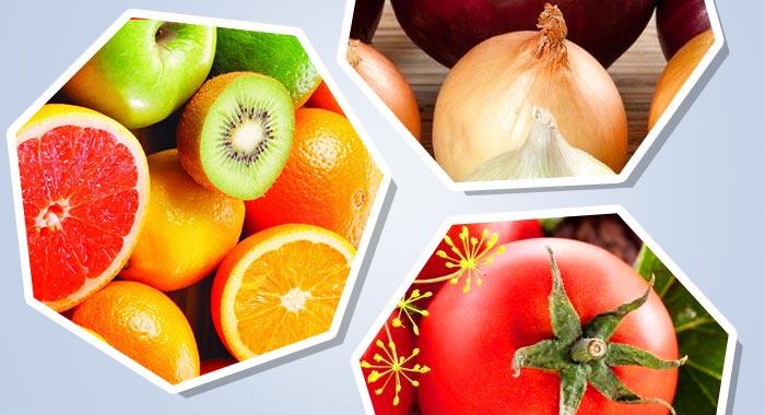 цитрусовые, помидоры, лук