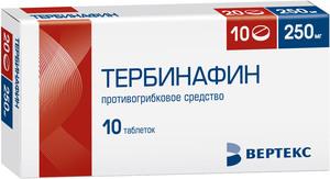 Действующее вещество — тербинафин.