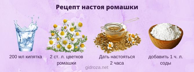 Рецепт настоя ромашки